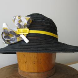 Chapeau de paille et crin noir - Têtu-Têtu